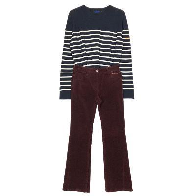 stripe knit & corduroy bootscut pants